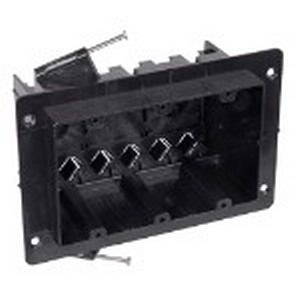 Union NG-354-V 3-Gang Outlet Box; 3-1/4 Inch Depth, Thermoplastic, 54 Cubic-Inch, Black
