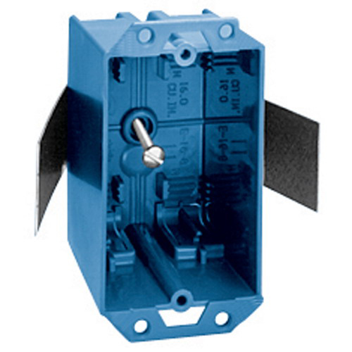 Union E-16-8 1-Gang Switch/Outlet Box; 2-11/16 Inch Depth, PVC, 16 Cubic-Inch, Blue