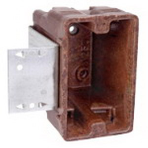 Union 1250-112 1-Gang Outlet Box; 3-3/8 Inch Depth, Phenolic, 20.3 Cubic-Inch, Brown