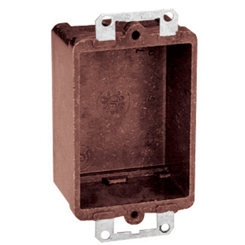Union 7090 1-Gang Outlet Box; 1-7/16 Inch Depth, Phenolic, 7.5 Cubic-Inch, Brown