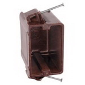 Union 1050-UB 1-Gang Switch/Outlet Box; 3-1/2 Inch Depth, Phenolic, 21 Cubic-Inch, Brown