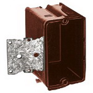 Union 2030-502 1-Gang Switch/Outlet Box; 2-3/4 Inch Depth, Phenolic, 16 Cubic-Inch, Brown
