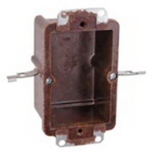 Union 6062-402 2-Gang Switch/Outlet Box; 3-3/8 Inch Depth, Phenolic, 25 Cubic-Inch, Brown