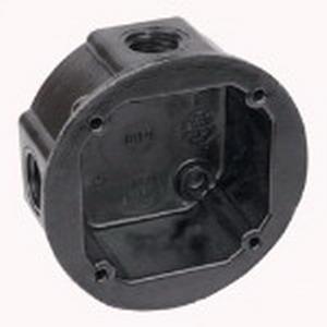 Union AO4-34 Round Weatherproof Conduit Box; 4-1/8 Inch Dia, Phenolic, 12 Cubic-Inch, Black