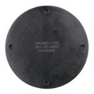 Union AO-51 Blank Flat Round Box Cover With Gasket; Phenolic, Black