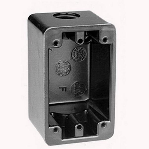 Union FSC-34 1-Gang Weatherproof Device Box; 2-9/16 Inch Depth, Phenolic, 16 Cubic-Inch, Black