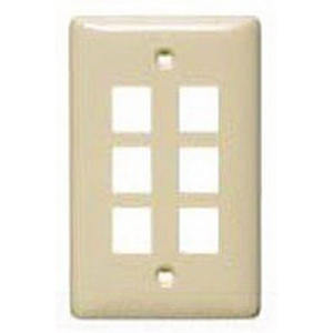 Hubbell Wiring NSP16LA Netselect® Standard Size 1-Gang Multimedia Face Plate Without Label; Flush/Screw Mount, High Impact-Resistant Thermoplastic, Light Almond