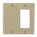Hubbell Wiring NP1326LA Homeselect™ Standard Size 2-Gang Combination Wallplate; Screw Mount, Nylon, Light Almond