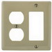 Hubbell Wiring NP826 Homeselect™ Standard Size 2-Gang Combination Wallplate; Screw Mount, Nylon, Brown