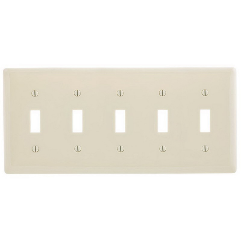 Hubbell Wiring NP5LA Homeselect™ 5-Gang Toggle Switch Wallplate; Nylon, Light Almond, Screw Mount