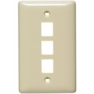 Hubbell Wiring NSP13I Netselect® Standard Size 1-Gang Multimedia Face Plate Without Label; Flush/Screw Mount, High Impact-Resistant Thermoplastic, Ivory