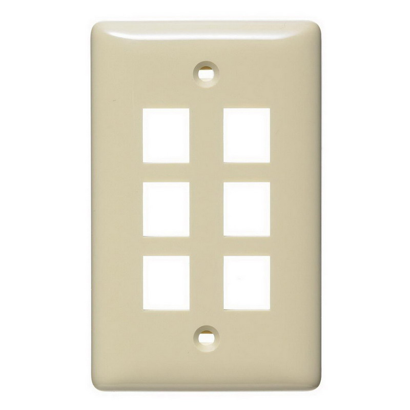 Hubbell Wiring NSP16I Netselect® Standard Size 1-Gang Multimedia Face Plate Without Label; Flush/Screw Mount, High Impact-Resistant Thermoplastic, Ivory