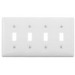 Hubbell Wiring NPJ4W Homeselect™ 4-Gang Mid Size Toggle Switch Wallplate; Nylon, White, Screw Mount
