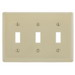 Hubbell Wiring NPJ3LA Homeselect™ 3-Gang Toggle Switch Mid Size Wallplate; Nylon, Light Almond, Screw Mount