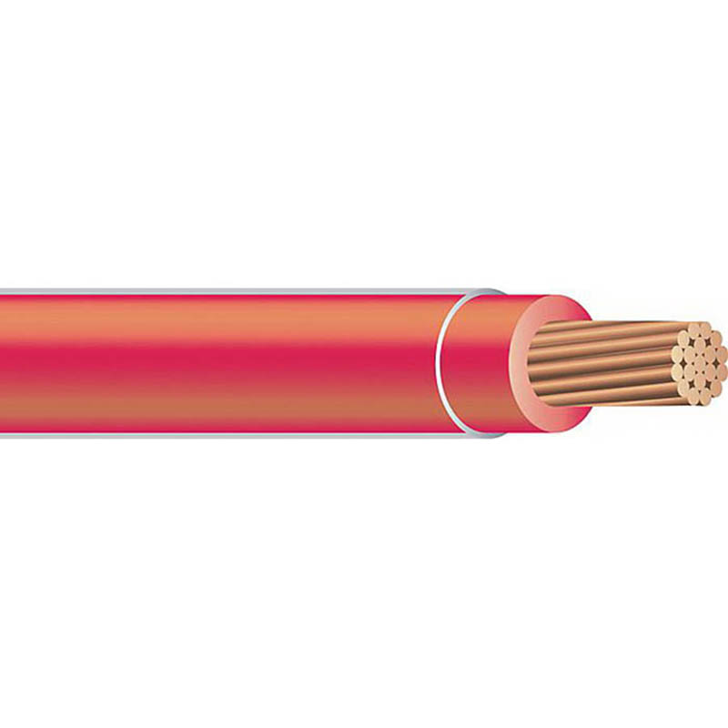 Copper Building Wire Coaxial THHN Cable; 1 AWG, 19 Stranded, Copper Conductor, Red, 5000 ft Reel