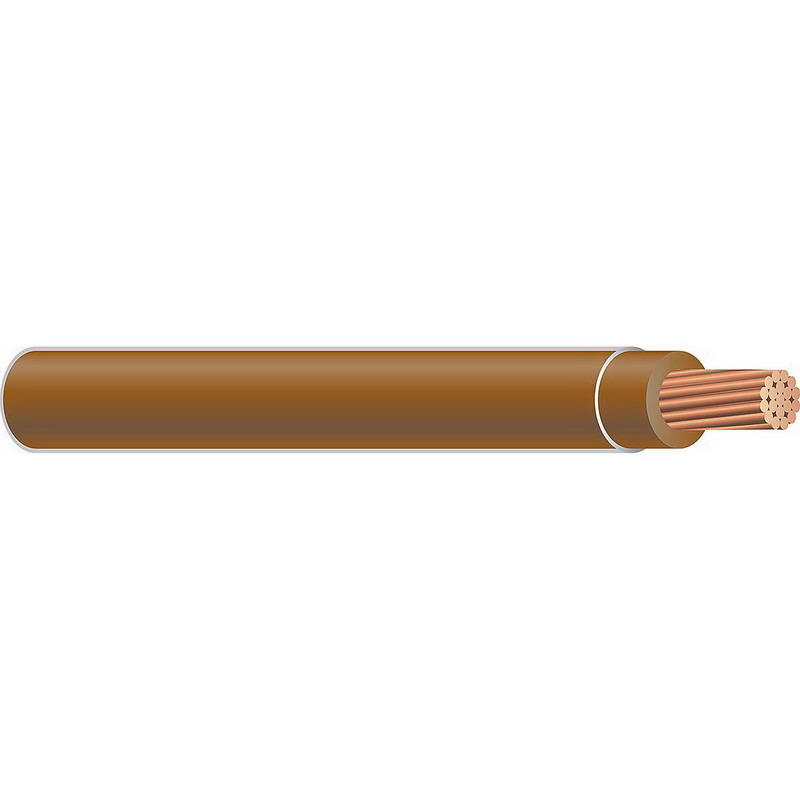 Copper Building Wire THHN Cable; 500 MCM, 37 Stranded, Copper Conductor, Brown, 2500 ft Reel
