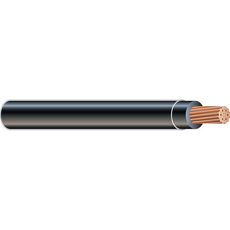 Copper Building Wire XHHW Cable; 1 AWG, 19 Stranded, Copper Conductor, Black, Coil