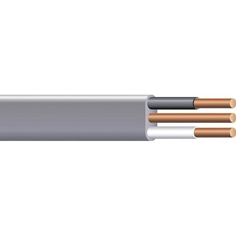 Copper Building Wire UF-NMCB Cable With Grounding; 8/3 AWG, Copper Conductor, 125 ft Coil