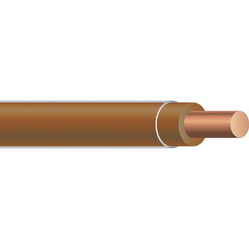 Copper Building Wire THHN Cable; 14 AWG, Solid, Copper Conductor, Brown, 2500 ft Spool/Reel