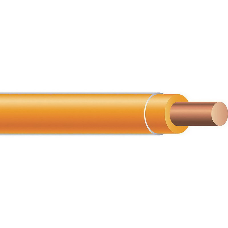Copper Building Wire THHN Cable; 14 AWG, Solid, Copper Conductor, Orange, 2500 ft Spool/Reel