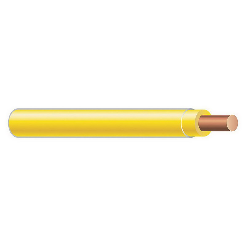Copper Building Wire THHN Cable; 14 AWG, Solid, Copper Conductor, Yellow, 2500 ft Spool/Reel