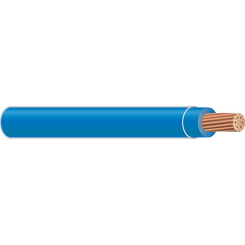Copper Building Wire TFFN Building Wire; 18 AWG, 16 Stranded, Copper Conductor, Blue, 2500 ft Spool/Reel