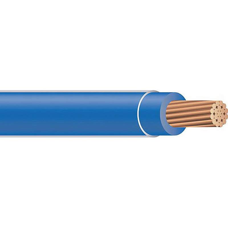 Copper Building Wire THHN Cable; 2 AWG, 19 Stranded, Copper Conductor, Blue, 2500 ft Reel
