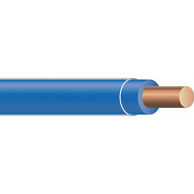 Copper Building Wire THHN Cable; 10 AWG, Solid, Copper Conductor, Blue, 2500 ft Spool/Reel