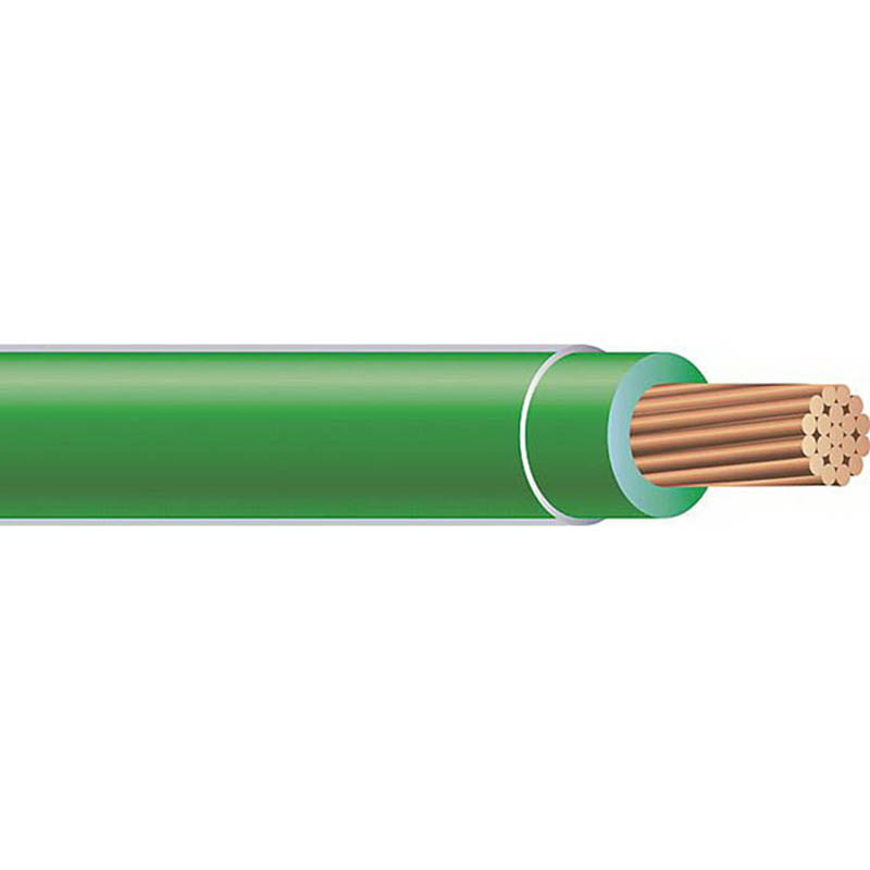 Copper Building Wire THHN DLO Cable; 2/0 AWG, 19 Stranded, Copper Conductor, Green, 500 ft Reel