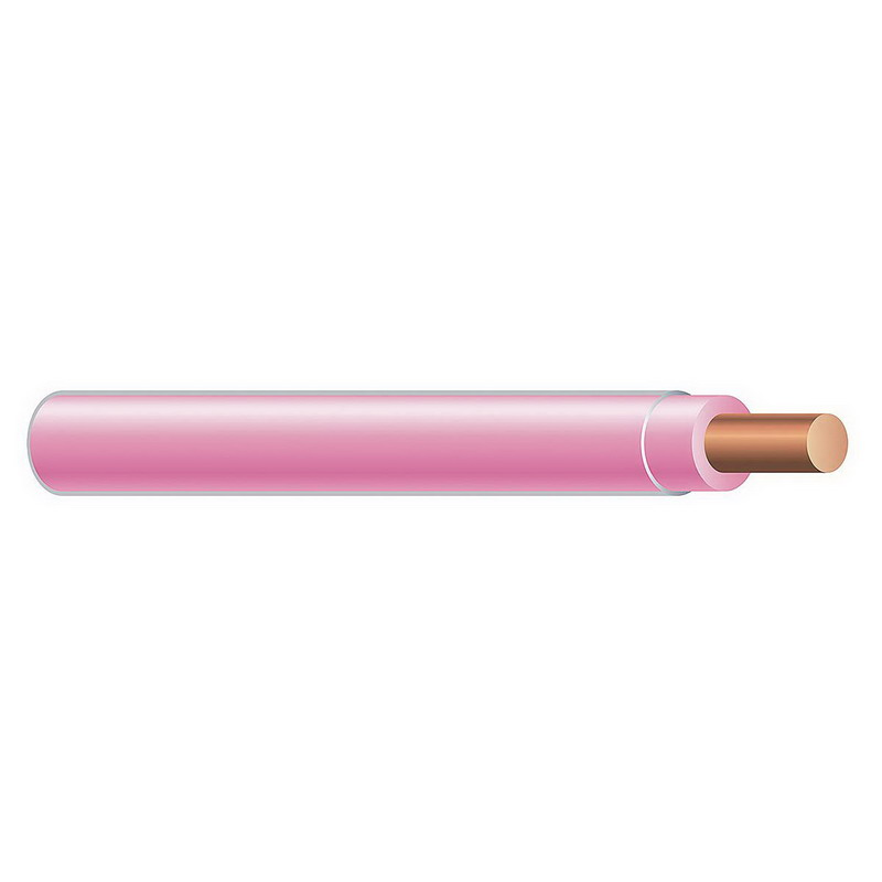 Copper Building Wire THHN Cable; 14 AWG, Solid, Copper Conductor, Pink, 500 ft Coil
