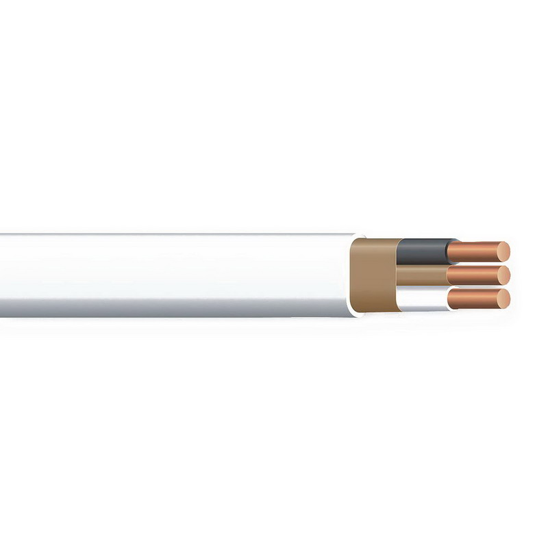 Copper Building Wire NM Sheathed Cable With 2 Circuit Grounding; 14/2 AWG, Copper Conductor, White