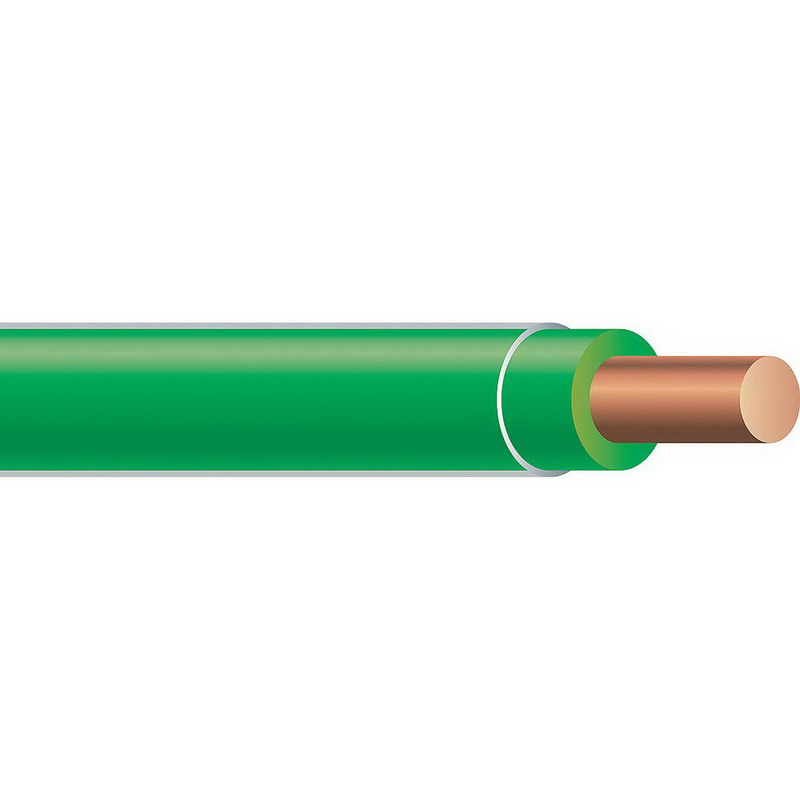 Copper Building Wire XHHW Cable; 12 AWG, Solid, Copper Conductor, Green, 500 ft Spool/Reel