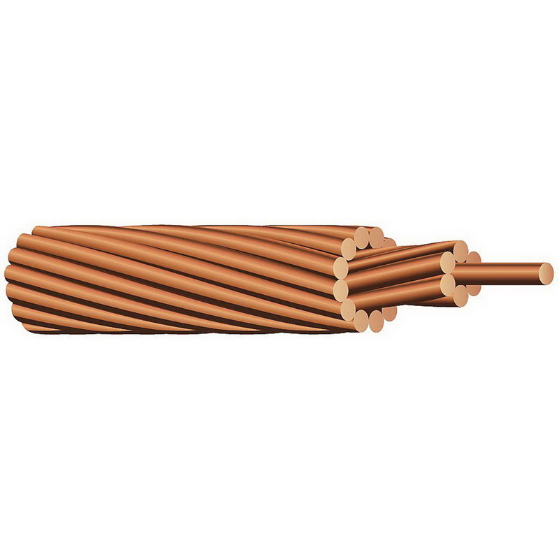 Copper Building Wire Bare Cable; 3/0 AWG, 19 Stranded, Soft Drawn Bare Copper Conductor, 500 ft Reel