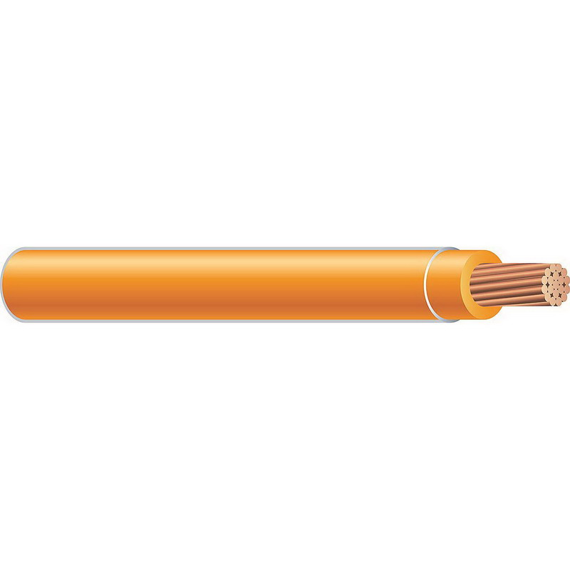 Copper Building Wire THHN Cable; 250 MCM, 37 Stranded, Copper Conductor, Orange, 2000 ft Reel