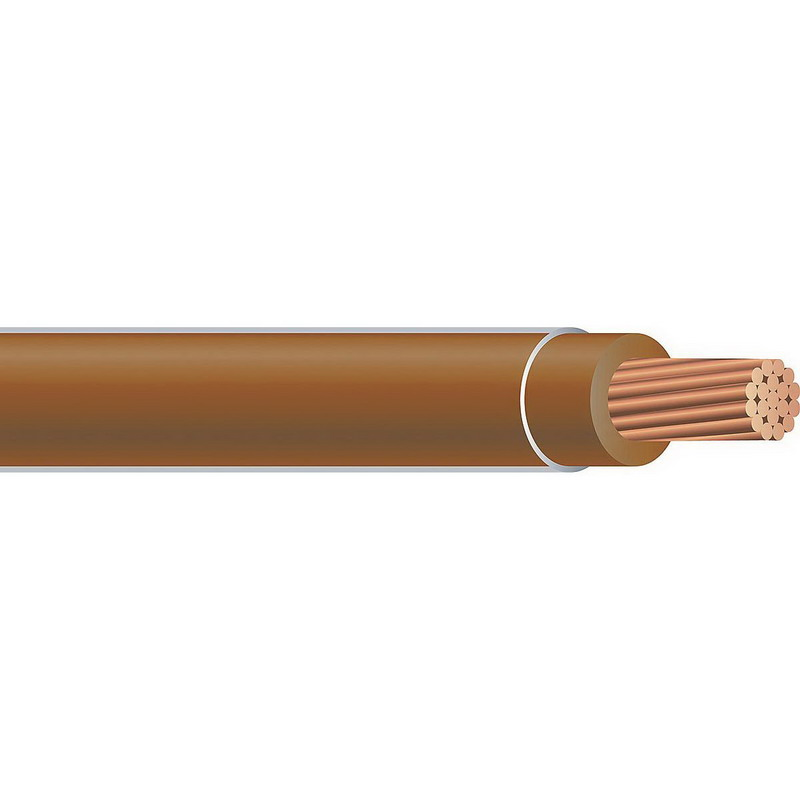Copper Building Wire THHN Cable; 1 AWG, 19 Stranded, Copper Conductor, Brown, 2500 ft Reel