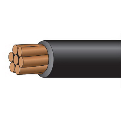 Service Wire CT Rated XHHW Cable; 3 AWG, 7 Stranded, Copper Conductor, Black, 1000 ft