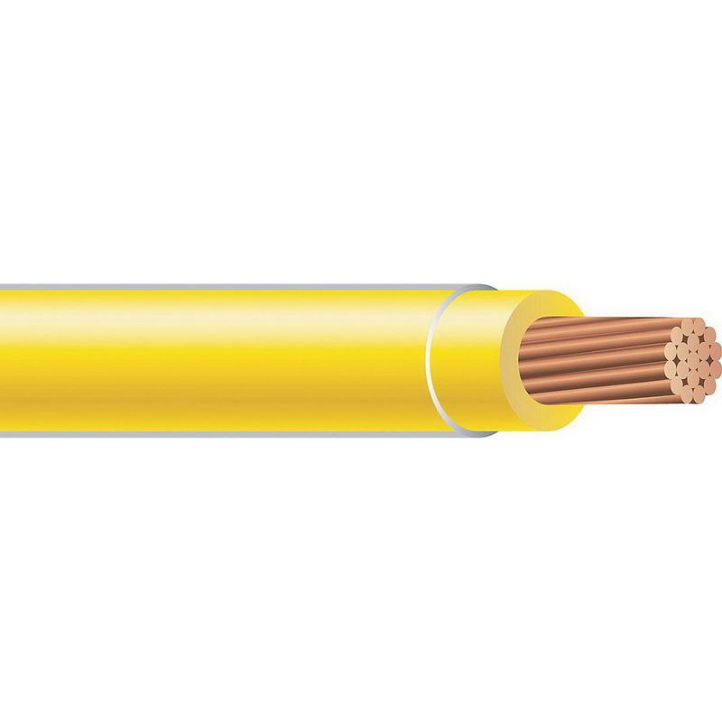 Copper Building Wire THHN Cable; 1/0 AWG, 19 Stranded, Copper Conductor, Yellow, 2500 ft Reel