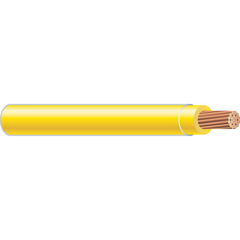 Copper Building Wire THHN Cable; 250 MCM, 37 Stranded, Copper Conductor, Yellow, 2500 ft Reel