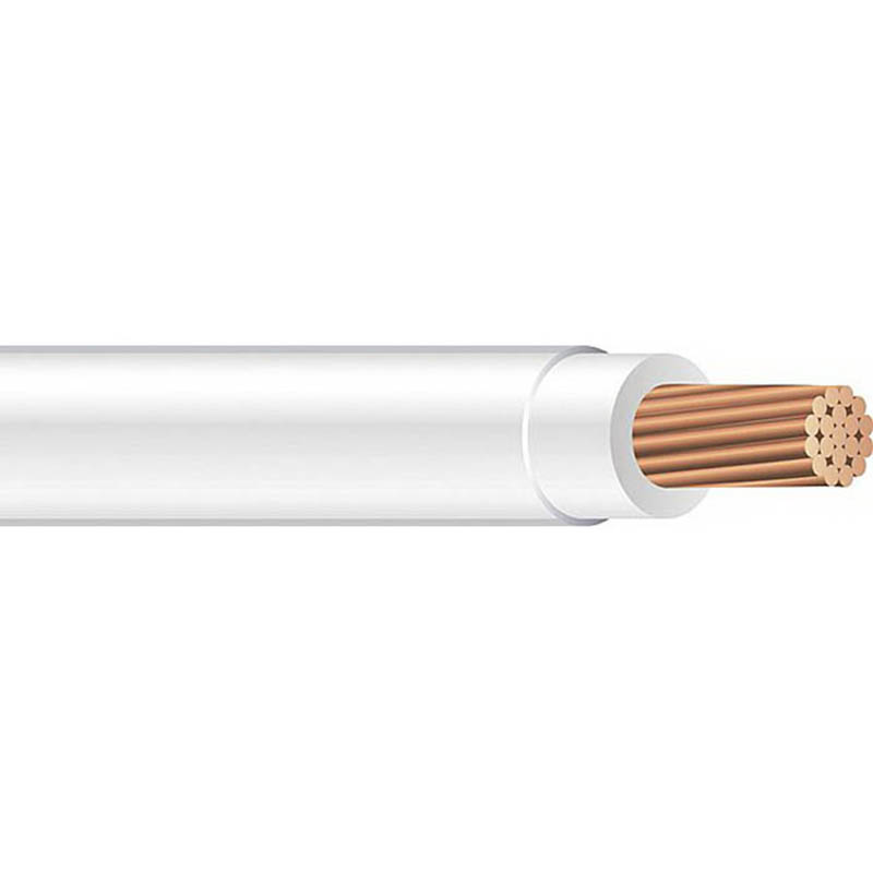 Copper Building Wire THHN Cable; 3/0 AWG, 19 Stranded, Copper Conductor, White, 2500 ft Reel