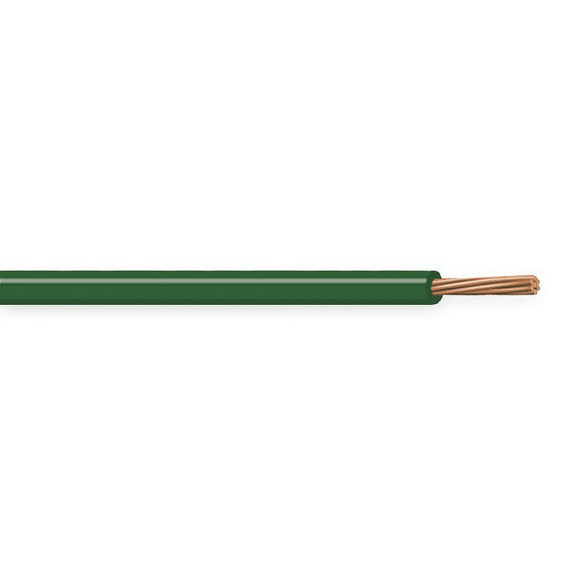 Copper Building Wire THW Cable; 10 AWG, 7 Stranded, Copper Conductor, Green, 2500 ft Spool/Reel