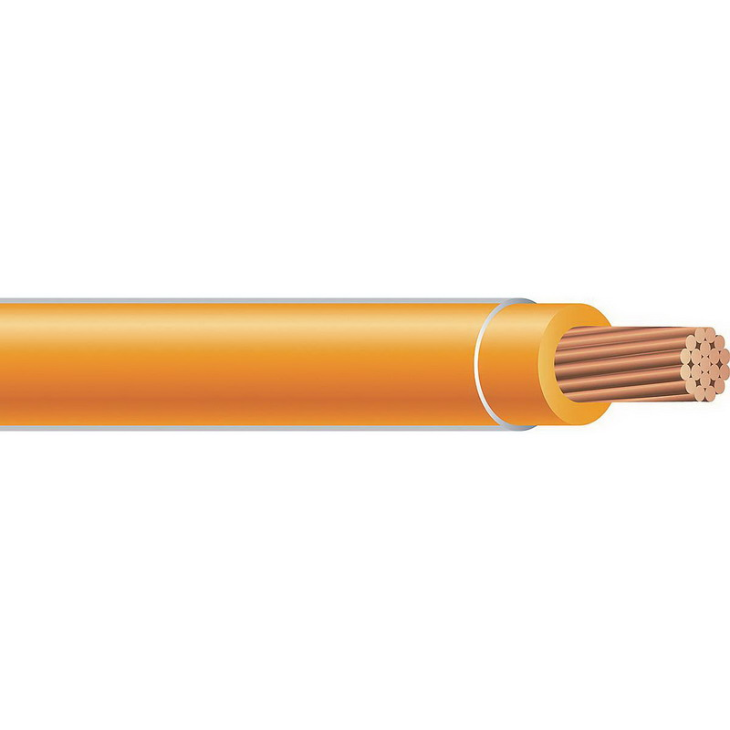 Copper Building Wire THHN Cable; 2 AWG, 19 Stranded, Copper Conductor, Orange, 2500 ft Reel