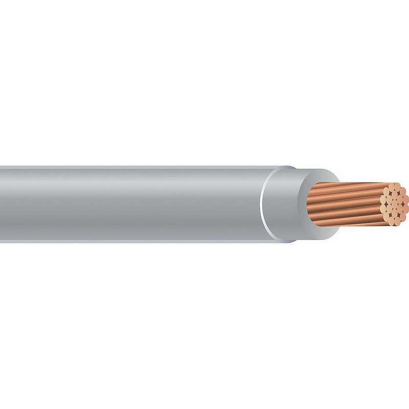 Copper Building Wire THHN Cable; 1/0 AWG, 19 Stranded, Copper Conductor, Gray, 1000 ft Reel
