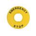 Idec HWAV-27 Nameplate; 5 Milli-Amp At 3 Volt AC/DC, 10 Amp At 120 Volt AC, Emergency Stop Legend, Plastic, Yellow