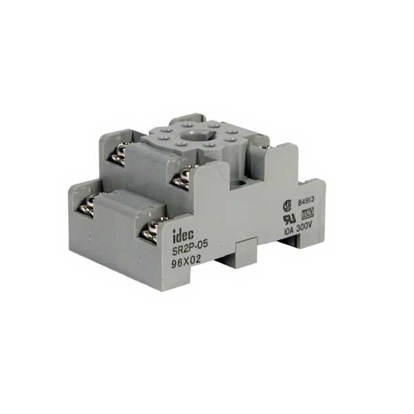 Idec SR2P-05 SR Series Relay Socket; 10 Amp, 300 Volt, 2-Pole, DIN Rail Snap/Surface Mount