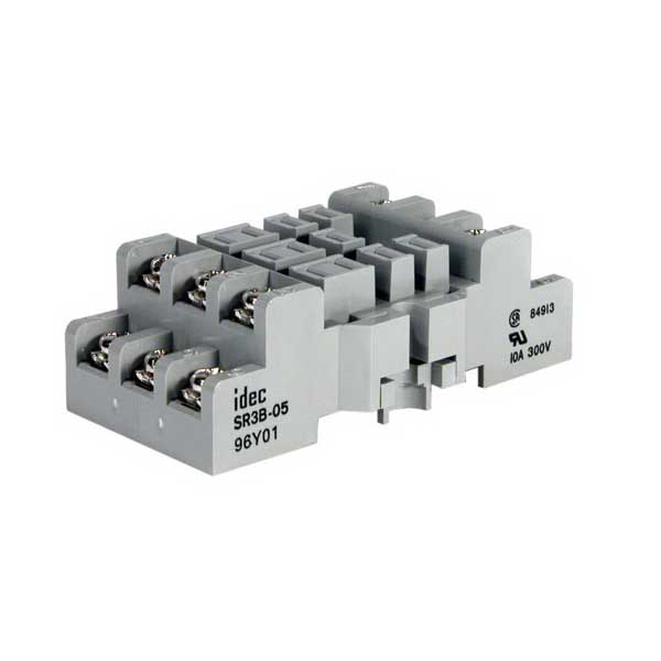 Idec SR3B-05 SR Series Relay Socket; 10 Amp, 15 Amp For CSA Rating, 300 Volt, 3-Pole, DIN Rail Snap/Surface Mount
