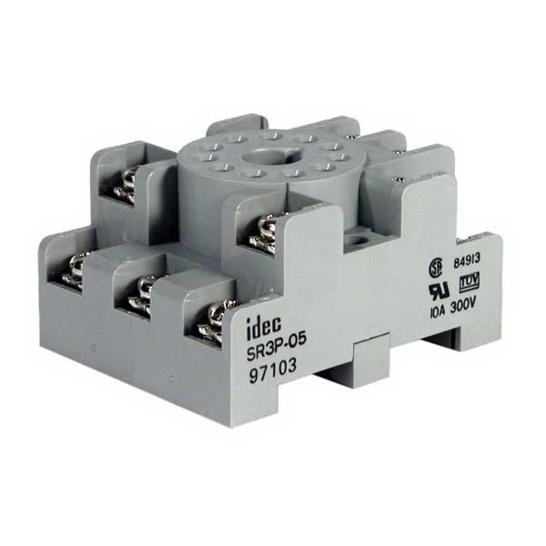 Idec SR3P-05 SR Series Relay Socket; 10 Amp, 300 Volt, 3-Pole, DIN Rail Snap/Surface Mount