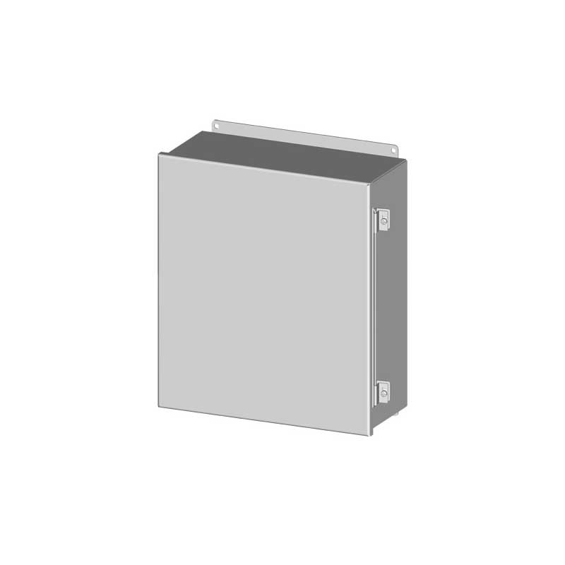 Saginaw Control and Engineering SCE-16148CHNF Single Door Enclosure; 14 Inch Width x 8 Inch Depth x 16 Inch Height, 0.063 Inch Carbon Steel, ANSI 61 Gray, Hinged Cover