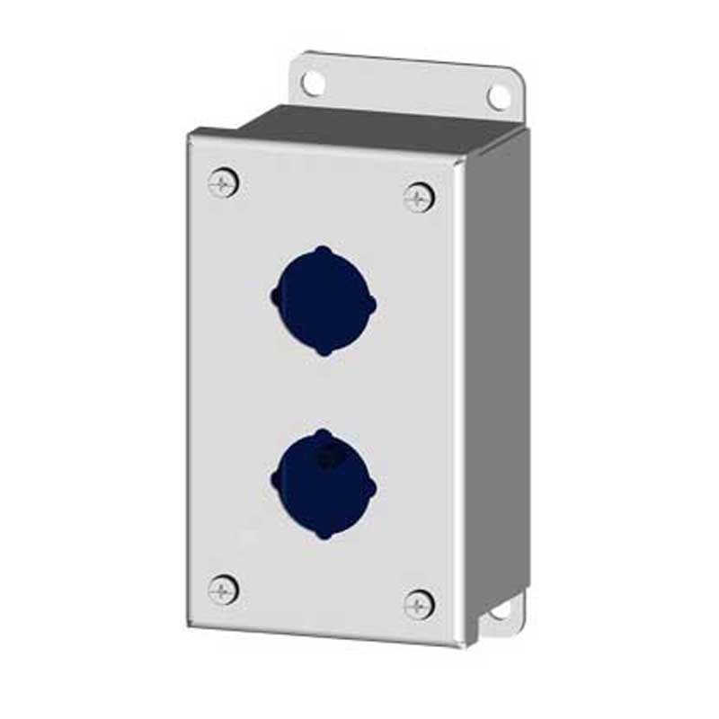 Saginaw Control and Engineering SCE-2PBI Pushbutton Enclosure; Carbon Steel, ANSI 61 Gray