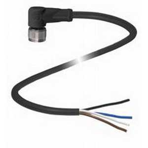 Pepperl & Fuchs V1-W-BK5M-PUR-U 4-Pin Right Angle Female Cordset; 5 m Cable, PUR Cable, Black