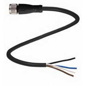 Pepperl & Fuchs V3-GM-BK5M-PVC-U 3-Pin Straight Female Cordset; 5 m Cable, PVC Cable, Black